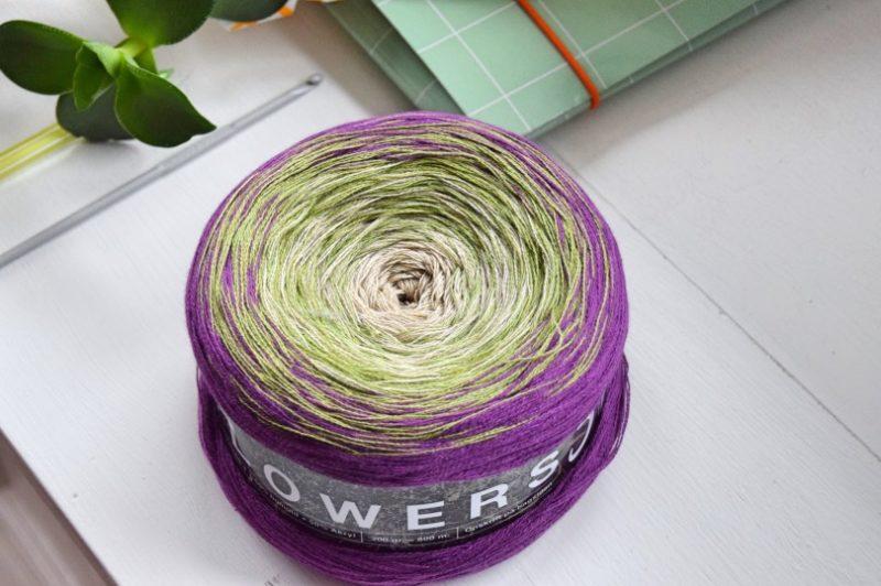 Garn til tørklæde med lange farveskift