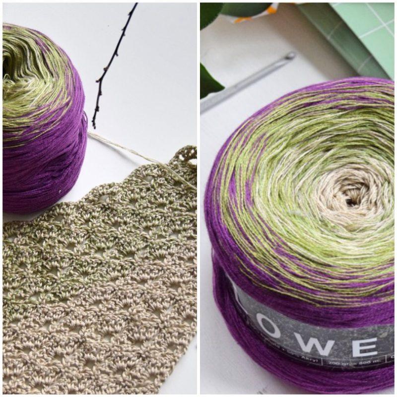 Hæklet tørklæde med lange farveskift