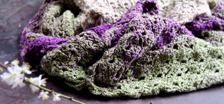 Tørklæde med lange farveskift