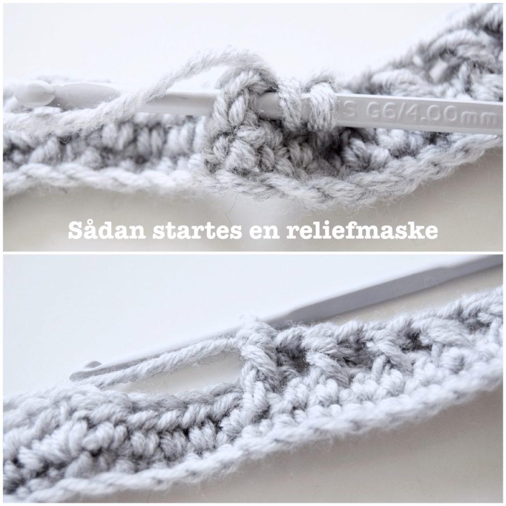 hæklet relief sweater, reliefmaske
