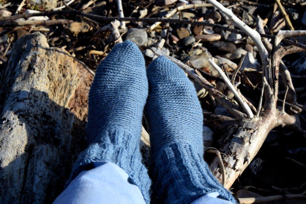 Rib hæklede sokker