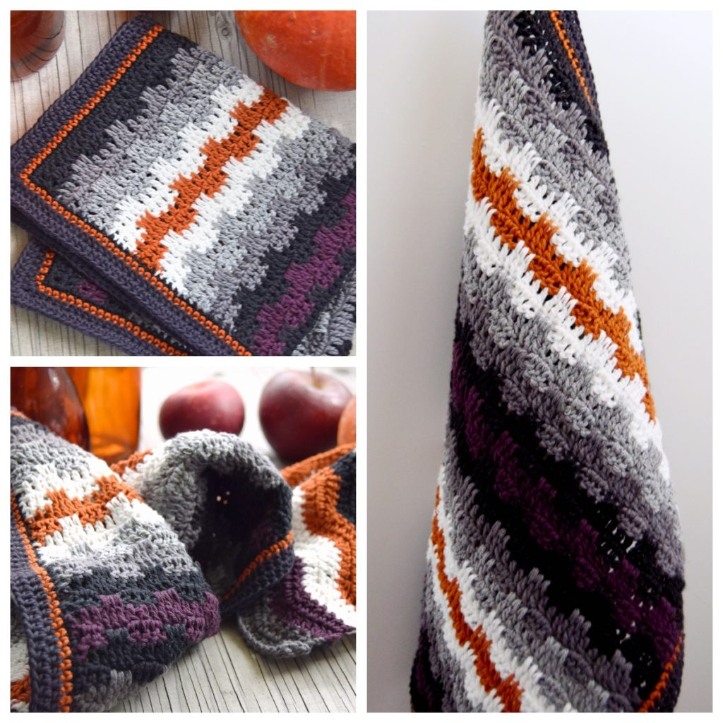 Hæklet køkkenhåndklæde med grafisk mønster