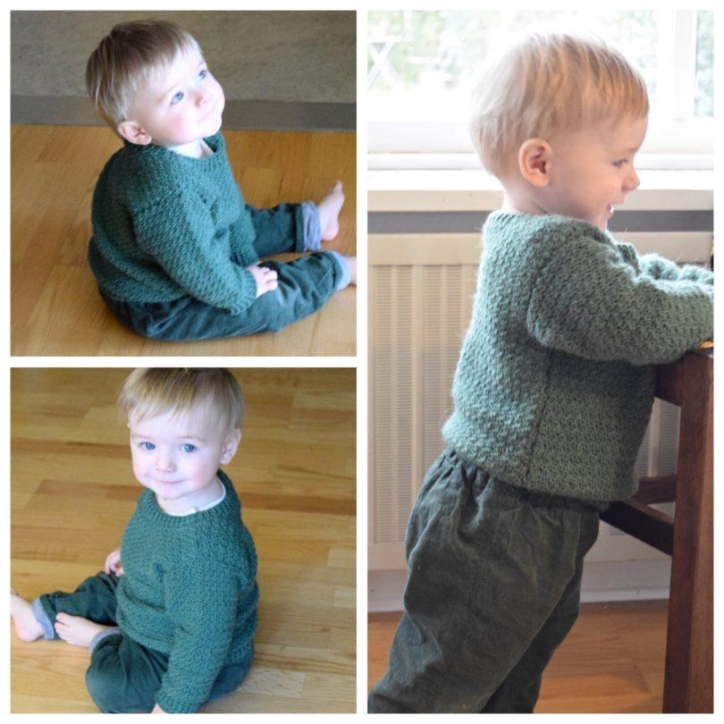 Hæklet sweater til små drenge